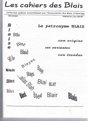 Collection cahier des Blais #1